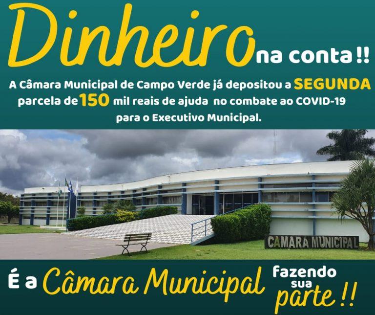 A Câmara Municipal de Campo Verde deposita a segunda parcela de ajuda no combate ao COVID-19.